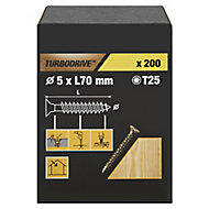 TurboDrive Yellow zinc-plated Steel Wood Screw (Dia)5mm (L)70mm, Pack of 200