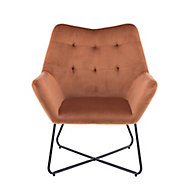 Turio Burnt orange Velvet effect Chair (H)865mm (W)750mm (D)800mm