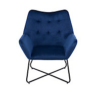 Turio Deep blue Velvet effect Chair (H)865mm (W)750mm (D)800mm