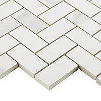 Ultimate White Marble effect Herringbone Porcelain Mosaic tile sheets, (L)300mm (W)300mm