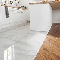 Ultimate White Marble effect Porcelain Floor tile, Pack of 3, (L)595mm (W)595mm