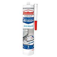 UniBond Healthy kitchen & bathroom Mould resistant Light Grey Silicone-based Sealant, 300ml