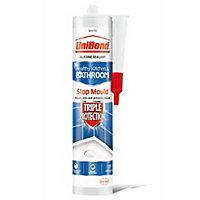 UniBond Triple protect Mould resistant White Kitchen & bathroom Silicone-based Sanitary sealant, 300ml