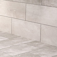 Urban White Matt Stone effect Ceramic Wall & floor tile, Pack of 5, (L)600mm (W)300mm