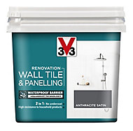 V33 Renovation Anthracite Satin Wall tile & panelling paint, 0.75L