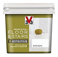 V33 Renovation White Satin Floor & stair paint, 0.75L
