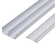Valla White Sliding wardrobe door track (L)3600mm
