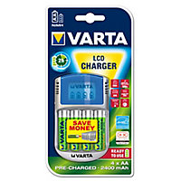 Varta Battery charger with batteries with 4x AA pre-charged Ni-MH 2600 mAh batteries, 1x car adaptor