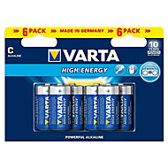 Varta Longlife Power Non-rechargeable C (LR14) Battery, Pack of 6