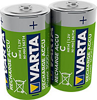 Varta Rechargeable D (HR20) Battery, Pack of 2