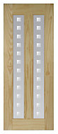 Vertical 2 panel Patterned Frosted Glazed Clear pine LH & RH Internal Door, (H)1981mm (W)686mm