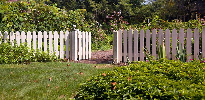 """White painted picket fence in garden"""