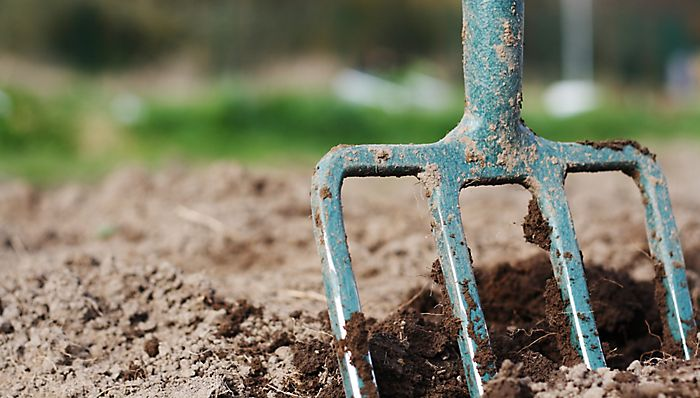 fork in compost
