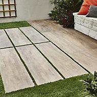 Vintage Natural Matt Wood Wood effect Porcelain Outdoor Floor tile, Pack of 2, (L)1195mm (W)297mm