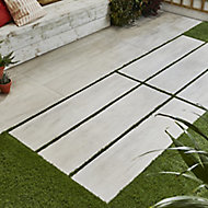 Vintage White Matt Wood effect Porcelain Outdoor Floor tile, Pack of 2, (L)1195mm (W)297mm