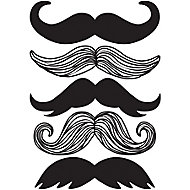 Wallpops Moustache Black Self-adhesive Wall sticker (H)430mm (W)610mm