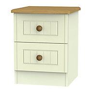 Warwick Matt cream 2 Drawer Compact Bedside chest (H)505mm (W)395mm (D)415mm