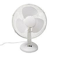 """White 12"""" 40W Desk Fan"""