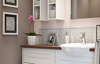 Semi-recessed bathroom basins
