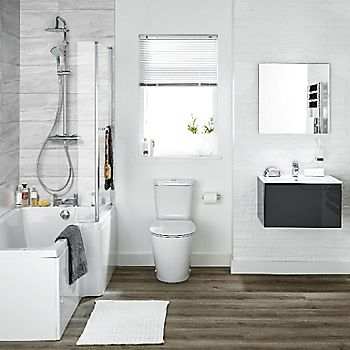 Ideal Standard Imagine RH Acrylic L shaped Shower Bath, front panel & screen