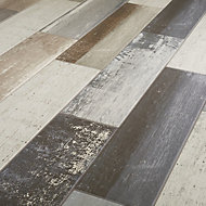 Worn wood Grey Matt Wood effect Porcelain Wall & floor Tile Sample