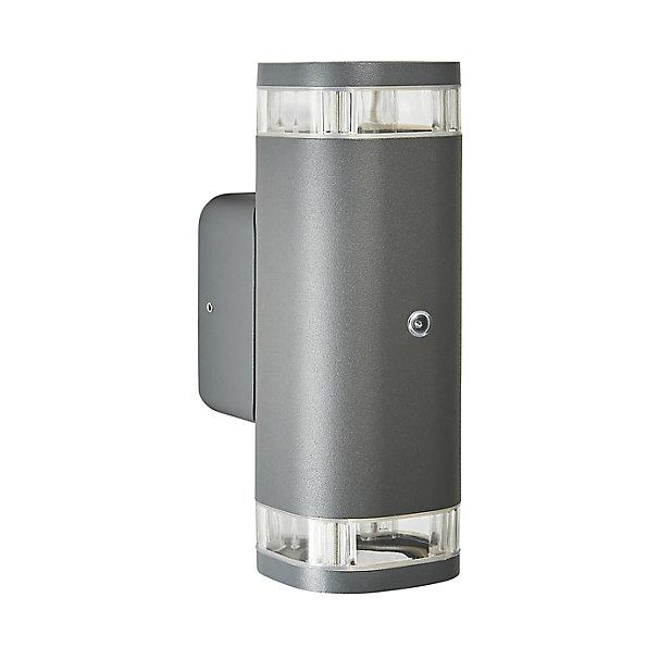 Zinc Palin Non Adjustable Matt, Outdoor Wall Light With Bluetooth Speaker