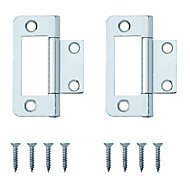 Zinc-plated Metal Flush Door hinge (L)50mm N177, Pack of 8