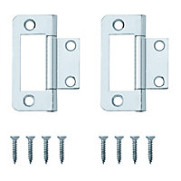 Zinc-plated Metal Flush Door hinge (L)50mm, Pack of 8