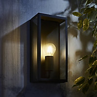 Zinc Thora Non-adjustable Matt Anthracite Charcoal effect Mains-powered LED Outdoor Box Wall lantern (Dia)10cm