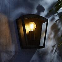 Zinc Viol Non-adjustable Matt Black Mains-powered LED Outdoor Curved Wall lantern (Dia)22cm