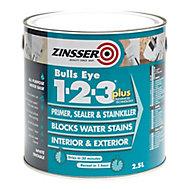 Zinsser Bulls Eye 1-2-3 White Multi-surface Primer, sealant & stain block, 2.5L